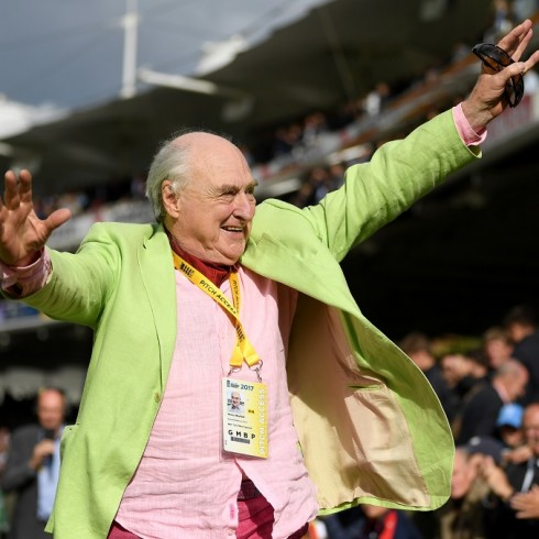 LONDON, ENGLAND - SEPTEMBER 09:  Test Match Special commentator Henry Blofeld is waved off by MCC members after day three of the 3rd Investec Test match between England and the West Indies at Lord's Cricket Ground on September 9, 2017 in London, England.  (Photo by Gareth Copley/Getty Images)