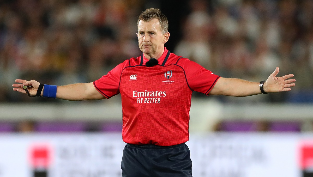 YOKOHAMA, JAPAN - OCTOBER 26: Referee Nigel Owens makes a decision during the Rugby World Cup 2019 Semi-Final match between England and New Zealand at International Stadium Yokohama on October 26, 2019 in Yokohama, Kanagawa, Japan. (Photo by Stu Forster/Getty Images)