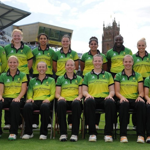 TAUNTON, ENGLAND - JULY 22: The Western Storm side pose for a team picture during the Kia Super League match between Western Storm and Yorkshire Diamonds at The Cooper Associates County Ground on July 22, 2018 in Taunton, England. (Photo by Harry Trump/Getty Images)